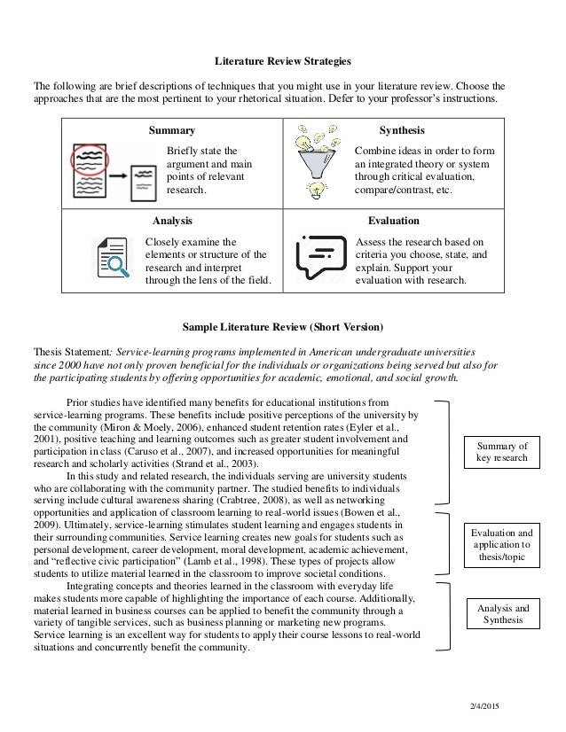 strategies for writing literature review